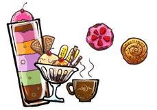 illustrazione del gelato e del dolce del deserto Immagini Stock Libere da Diritti