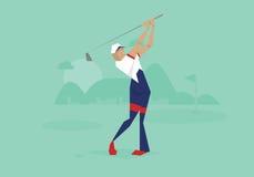 Illustrazione del giocatore di golf maschio che fa concorrenza nell'evento Fotografie Stock Libere da Diritti