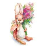 Illustrazione del giocattolo sveglio del coniglietto dell'acquerello Fotografia Stock Libera da Diritti