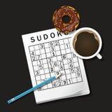 Illustrazione del gioco di Sudoku, tazza di caffè e ciambella del cioccolato Fotografia Stock