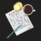 Illustrazione del gioco di Sudoku, tazza di caffè e cracker Fotografia Stock