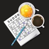 Illustrazione del gioco di Sudoku, tazza di caffè e pancake Immagine Stock Libera da Diritti