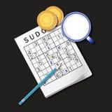 Illustrazione del gioco di Sudoku, tazza di latte e biscotti Immagini Stock