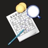 Illustrazione del gioco di Sudoku, tazza di latte e cracker Fotografia Stock Libera da Diritti