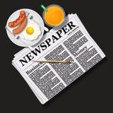 Illustrazione del giornale con succo d'arancia e la prima colazione Immagini Stock Libere da Diritti