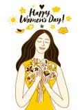 Illustrazione del giorno delle donne felici con la bella ragazza immagini stock libere da diritti