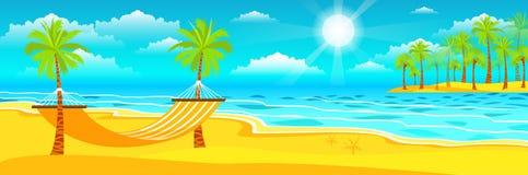 Illustrazione del giorno di estate soleggiato felice alla spiaggia Fotografia Stock