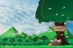 Illustrazione del giorno di pasqua con una merce nel carrello dell'uovo sul fiore di fioritura e sul cielo blu dell'erba verde co Immagini Stock Libere da Diritti