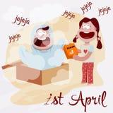 Illustrazione del giorno del ` s del pesce d'aprile, il 1 aprile royalty illustrazione gratis