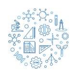 Illustrazione del giro di scienza, di tecnologia, di ingegneria e di per la matematica royalty illustrazione gratis