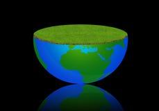Illustrazione del globo della terra con il prato Immagine Stock