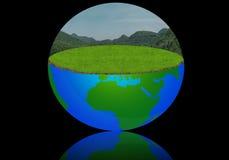 Illustrazione del globo di Erth con il prato ed il cielo Fotografia Stock Libera da Diritti