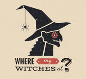 Illustrazione del grafico della strega di Halloween Fotografie Stock Libere da Diritti