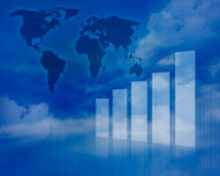 Illustrazione del grafico di affari con la mappa di mondo Fotografia Stock