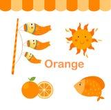 Illustrazione del gruppo arancio isolato di colore illustrazione di stock