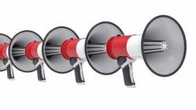 illustrazione del gruppo del megafono isolata 3D Fotografie Stock