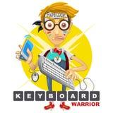 Illustrazione del guerriero della tastiera del geek del nerd Fotografia Stock