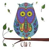 Illustrazione del gufo dello zentangle di vettore Uccello modellato decorato Immagine per colorare Simbol per stampare royalty illustrazione gratis