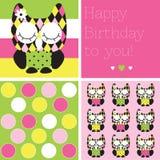 Illustrazione del gufo di buon compleanno Immagine Stock