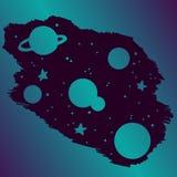 illustrazione del handrawn della galassia dell'universo Fotografia Stock Libera da Diritti