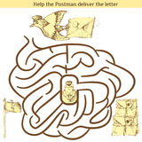 Illustrazione del labirinto di istruzione per i bambini in età prescolare Immagini Stock Libere da Diritti