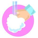 Illustrazione del lavaggio della mano nello stile piano Fotografia Stock Libera da Diritti