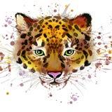 Illustrazione del leopardo con il fondo strutturato dell'acquerello della spruzzata illustrazione vettoriale