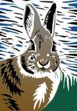 Illustrazione del linocut del coniglio Fotografie Stock Libere da Diritti