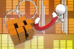 illustrazione del magnete dell'uomo 3d Immagine Stock