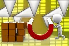 illustrazione del magnete dell'uomo 3d Fotografia Stock