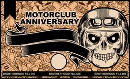 Illustrazione del manifesto di anniversario del club del motociclo Fotografie Stock