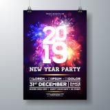 Illustrazione del manifesto di celebrazione del partito da 2019 nuovi anni con progettazione di tipografia e fuoco d'artificio su illustrazione di stock