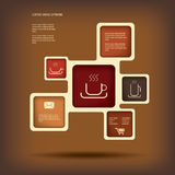 Illustrazione del menu del caffè o di vettore di infographics Immagini Stock