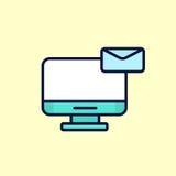 Illustrazione del messaggio di posta elettronica del bollettino della lettera piana di progettazione con il computer Fotografia Stock Libera da Diritti