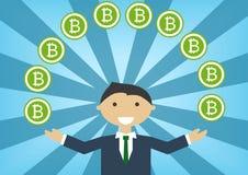 Illustrazione del milionario di Bitcoin come esempio per successo nell'industria di tecnologia illustrazione vettoriale
