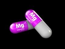 Illustrazione del minerale del magnesio Capsula della pillola di goccia e complesso lucidi della vitamina Integratore alimentare  fotografia stock libera da diritti