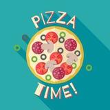 Illustrazione del modello del manifesto dell'insegna di tempo della pizza Fotografia Stock