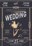 Illustrazione del modello della carta dell'invito di nozze di art deco Fotografie Stock Libere da Diritti