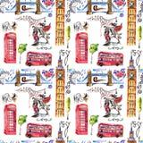 Illustrazione del modello di Londra dell'acquerello Simboli disegnati a mano della Gran Bretagna Fotografia Stock Libera da Diritti