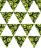 Illustrazione del modello senza cuciture affettato fresco della bandiera geometrica del triangolo del kiwi per la vostra progetta Fotografie Stock