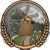 Illustrazione del mulino a vento di vettore nello stile dell'intaglio in legno Agricoltura biologica Fotografia Stock Libera da Diritti