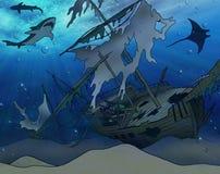 Illustrazione del naufragio illustrazione di stock
