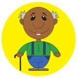 Illustrazione del nonno africano anziano con una canna Fotografia Stock Libera da Diritti