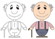 Illustrazione del nonno anziano con una canna Immagini Stock