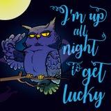 Illustrazione del nottambulo con il ` m. del ` I di citazione su tutta la notte per ottenere fortunato ` Immagini Stock Libere da Diritti