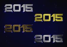Illustrazione del numero metallico 2015 sopra cielo notturno blu Fotografie Stock Libere da Diritti