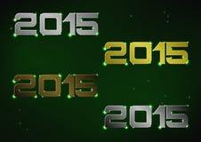 Illustrazione del numero metallico 2015 sopra cielo notturno verde Fotografia Stock Libera da Diritti