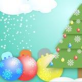 Illustrazione del nuovo anno di vettore con l'albero di Natale immagine stock