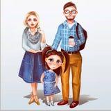 Illustrazione del padre, della madre e della figlia illustrazione vettoriale