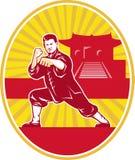 Padrone di arti marziali di Shaolin Kung Fu retro illustrazione vettoriale